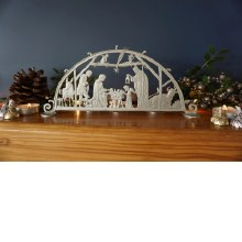 LARGE STANDING SILVER CUT OUT NATIVITY SCENE