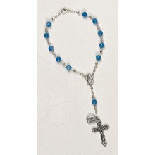 ST CHRISTOPHER AUTO ROSARY - LIGHT BLUE CAT'S EYE