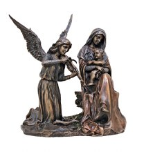 MADONNA & CHILD WITH ANGEL STATUE