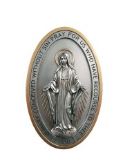 MIRACULOUS MEDAL PLAQUE PEWTER FINISH
