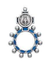 MIRACULOUS MEDAL ROSARY RING BLUE