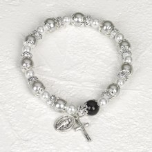 WHITE ROSARY BRACELET WITH PEARLS
