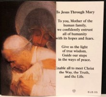 PAPER PRAYERCARD OUR LADY OF CZESTOCHOWA AND ST POPE JOHN PAUL II