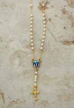 OUR LADY OF GRACE GOLD PLATED ROSARY NECKLACE