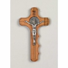 ST BENEDICT OLIVE WOOD PALM CROSS