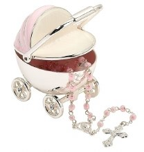PINK CARRIAGE KEEPSAKE WITH ROSARY