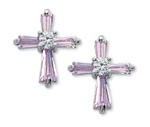 PINK CZ CROSS EARRINGS