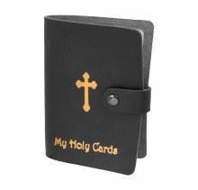 BLACK GOLD STAMPED LEATHERETTE CARD HOLDER