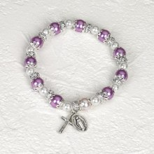PURPLE ROSARY BRACELET WITH PEARLS
