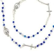 ROSARY NECKLACE & BRACELET BLUE