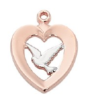 ROSE GOLD SS TWO-TONE HEART WITH DOVE