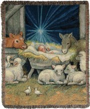 SHEEP NATIVITY THROW