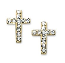 SMALL CRYSTAL CROSS GOLD EARRI