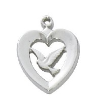 """SS HEART WITH DOVE 18"""" CHAIN"""