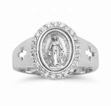 SS MIRACULOUS MEDAL CZ RING SIZE 8