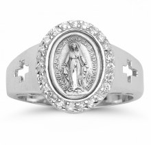 SS MIRACULOUS MEDAL CRYSTAL CZ SIZE 6 RING