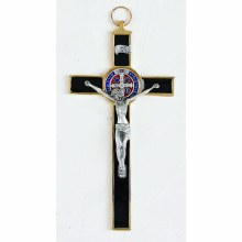 ST BENEDICT GOLD/ BLACK ENAMEL CRUCIFIX