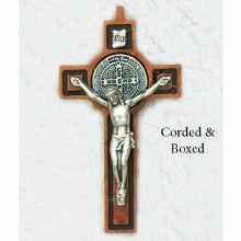 ST BENEDICT WOOD WITH BLACK IN LAY CRUCIFIX
