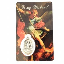 ST MICHAEL PRAYER CARD WITH MEDAL - DEAR HUSBAND