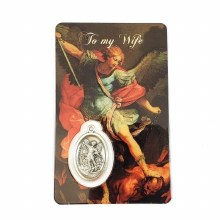 ST MICHAEL PRAYER CARD WITH MEDAL - DEAR WIFE