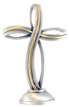 STANDING 2 TONE RIBBON CROSS