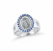 STERLING SILVER MIRACULOUS MEDAL SAPPHIRE SIZE 6 RING