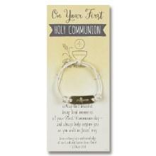 WHITE COMMUNION BRACELET ON CARD
