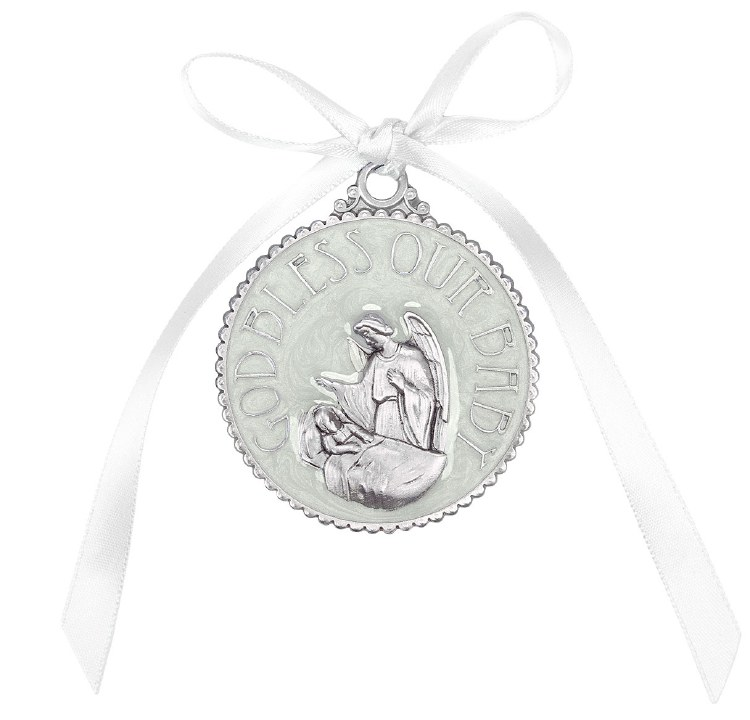 WHITE ENAMELED CRIB MEDAL BOXED
