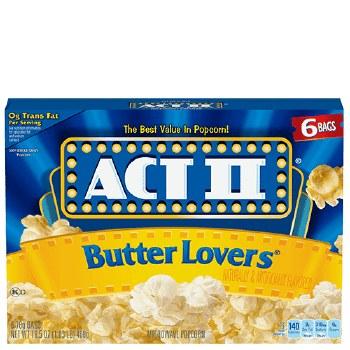 Act Ii Popcorn Butter Lovers 3 x 2.75 oz
