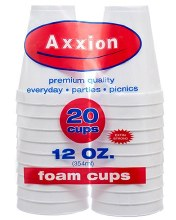 Axxion 12oz Foam Cups 20pcs