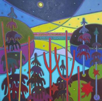 Darlene Kulig, Northern Lights Yellow & Violet Sky on Lake