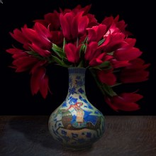 T.M. Glass, Tulips in a Turkish Vessel