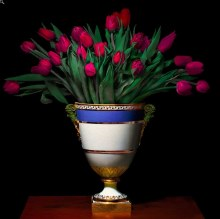 T.M. Glass, Tulips in a Blue, white and gold vessel