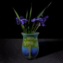 T.M. Glass, Siberian Iris in a Roycroft vessel