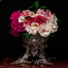 T.M. Glass, Camellias in a silver punch bowl