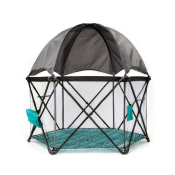 Baby Delight Go With Me Haven Eclipse Portable Playard- Teal Watercolor Stripe