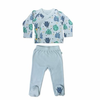 Finn + Emma Organic Cotton Kimono & Pants Set Monsters