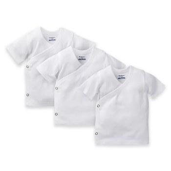 3-Pack White Side Snap Short Sleeve T-Shirt