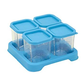 Green Sprouts Fresh Baby Food 4oz Glass Cubes Aqua
