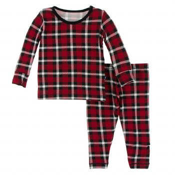 Kickee Pants Winter Celebrations Pajama Set in Crimson Holiday Plaid