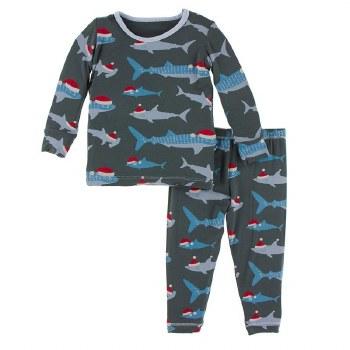 Kickee Pants Winter Celebrations Pajama Set in Pewter Santa Sharks