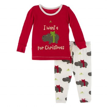 Kickee Pants Winter Celebrations Pajama Set in Natural Christmas Hippo