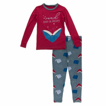 First Day of School Pajama Set Slate Flying Books