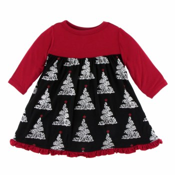 Kickee Pants Holiday Long Sleeve Swing Dress Midnight Foil Tree 3-6m