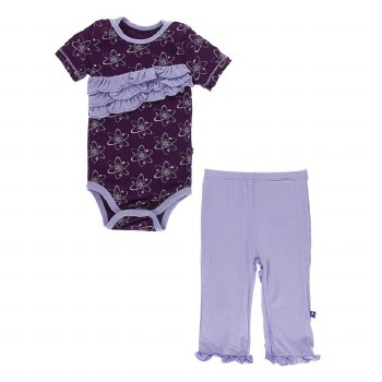 Kickee Pants Short Sleeve Diagonal Ruffle One Piece & Pants Set in Wine Grapes Atoms