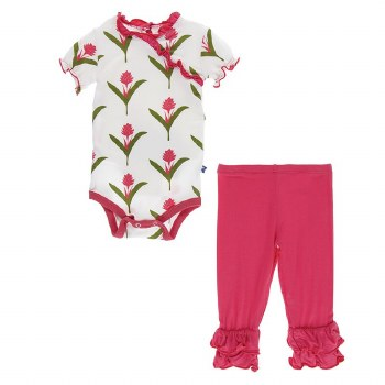 Kickee Pants Botany Short Sleeve Kimono Onesie & Pant Set Natural Red Ginger Flowers  6-12m