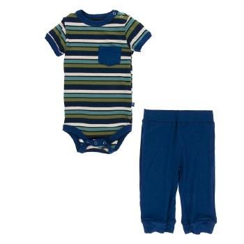 Kickee Pants Botany Short Sleeve Onesie Pant Outfit Set Botany Grasshopper Stripe  3-6m