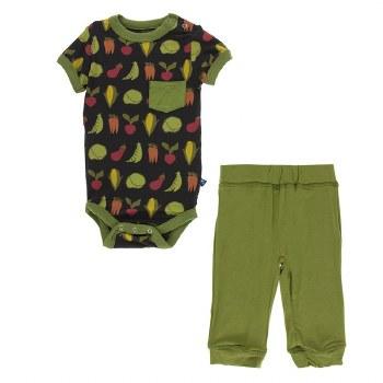 Kickee Pants Botany Short Sleeve Onesie Pant Outfit Set Zebra Garden Veggies 6-12m
