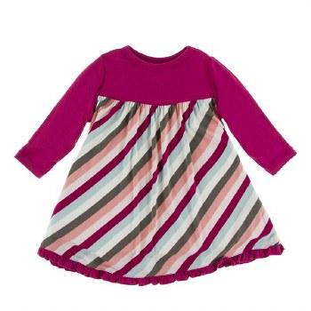 Kickee Pants Print Long Sleeve Swing Dress in Geology Stripe