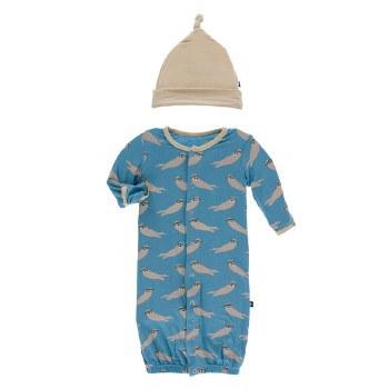 Kickee Pants Oceanography Print Gown Converter Set Blue Moon Sea Otter 0-3m